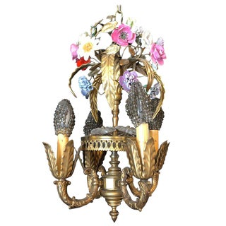 Bronze Louis XVI Style French Chandelier With Porcelain Flowers For Sale