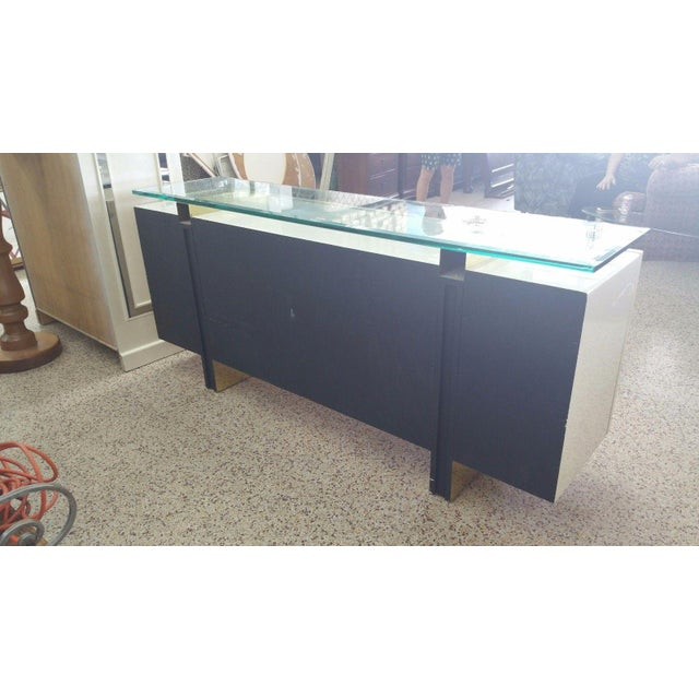 Early 20th Century Lacquer & Brass Sideboard Floating Glass Top For Sale - Image 5 of 12