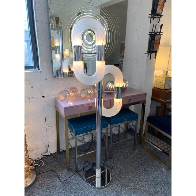 Floor Lamp Metal Chrome Murano Glass by Aldo Nason for Mazzega, Italy, 1970s For Sale - Image 11 of 12