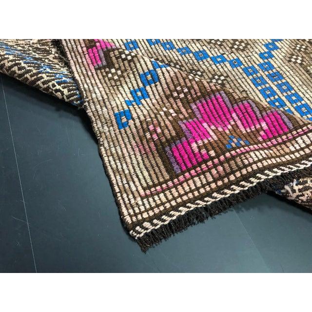 Islamic 1960s Vintage Primitive Nomadic Aztec Turkish Traditional Wool Handmade Kilim Rug- 6′ × 8′8″ For Sale - Image 3 of 11