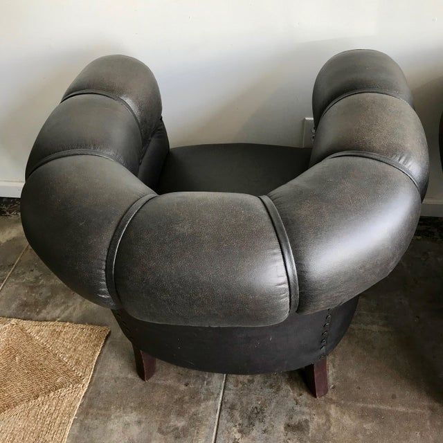 Art Deco 1920s Antique Black Leather Club Chairs- A Pair For Sale - Image 3 of 10