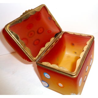 Mid Century Opaline Glass Box, Ombre Coloration With Inset Millefiori Preview