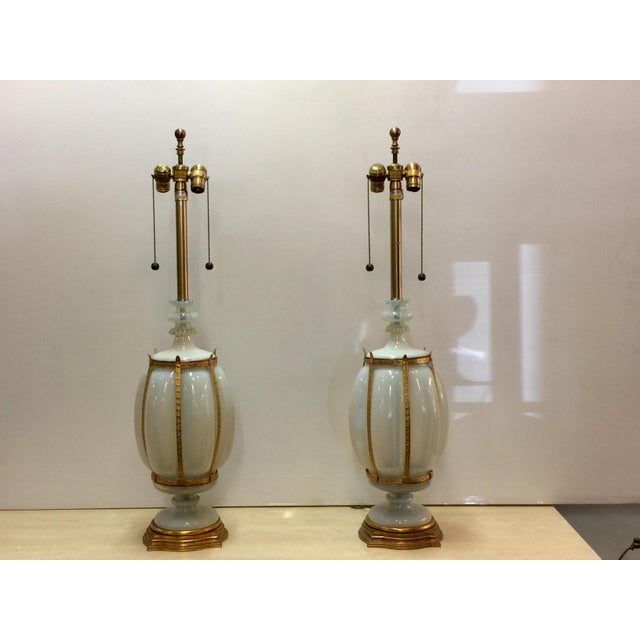 Seguso Caged Murano Opaline Glass Marbro Lamps - a Pair For Sale - Image 11 of 11