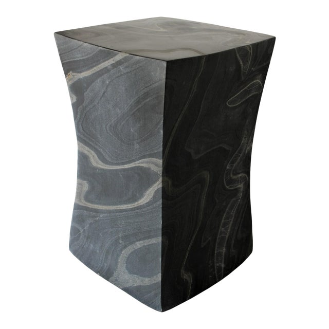 Beslana Block Side Table - Black Marble For Sale