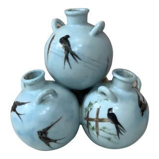 1900 French Swallow Motif Triple Vase For Sale