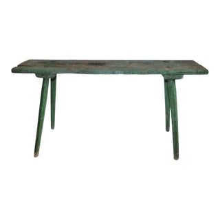 19th Century Original Green Painted Bench For Sale