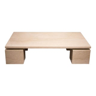French Polished Travertine Coffee Table For Sale
