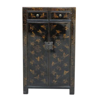 Asian Modern Black Elm Butterfly Cabinet