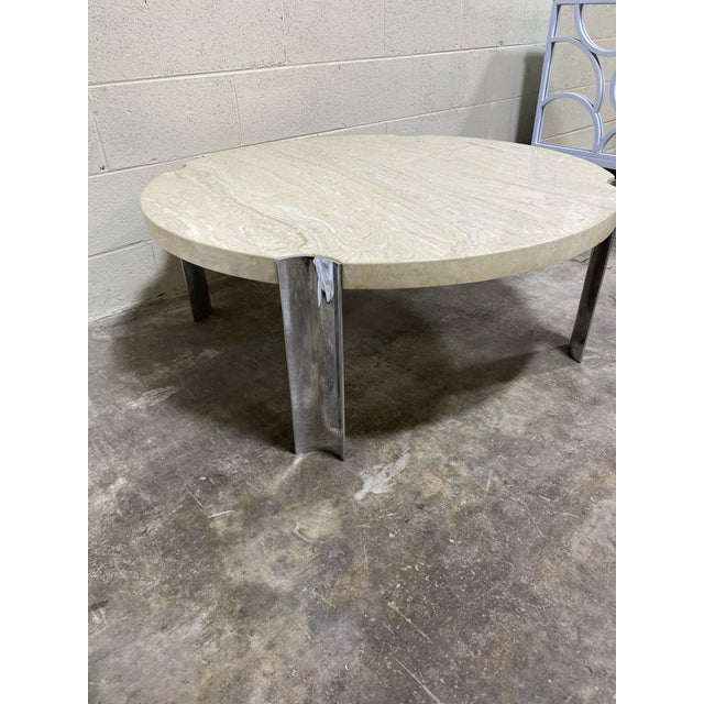 Mid-Century Modern Mid Century Chrome & Floating Marble Coffee Table For Sale - Image 3 of 12