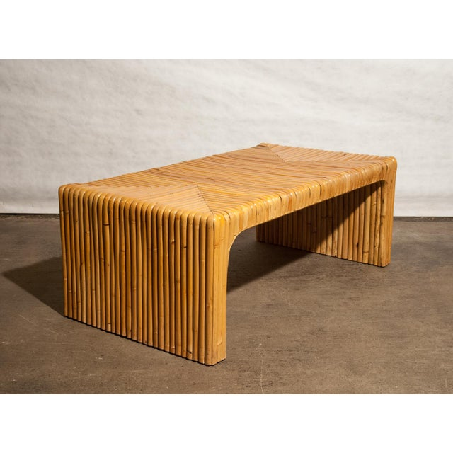 Circa 1950 Vintage Japanese Rattan Waterfall Coffee Table For Sale In Richmond - Image 6 of 8
