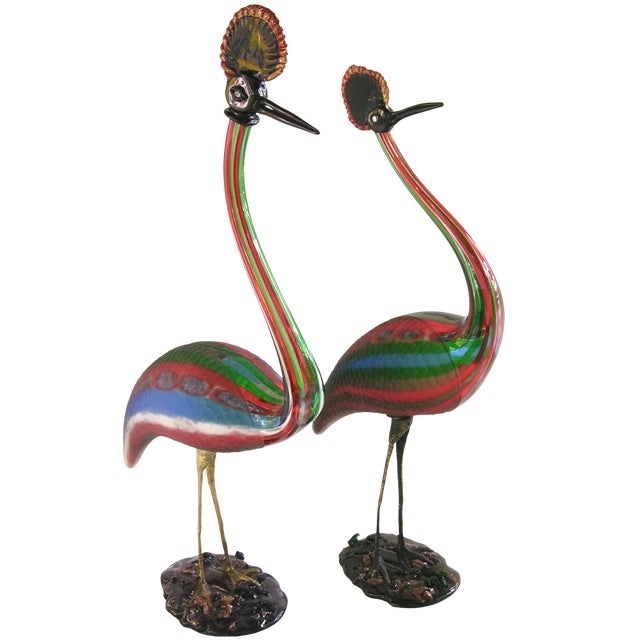 Vintage Italian Tall Jewel-Like Red Blue Green White Glass Crested Birds - a Pair For Sale