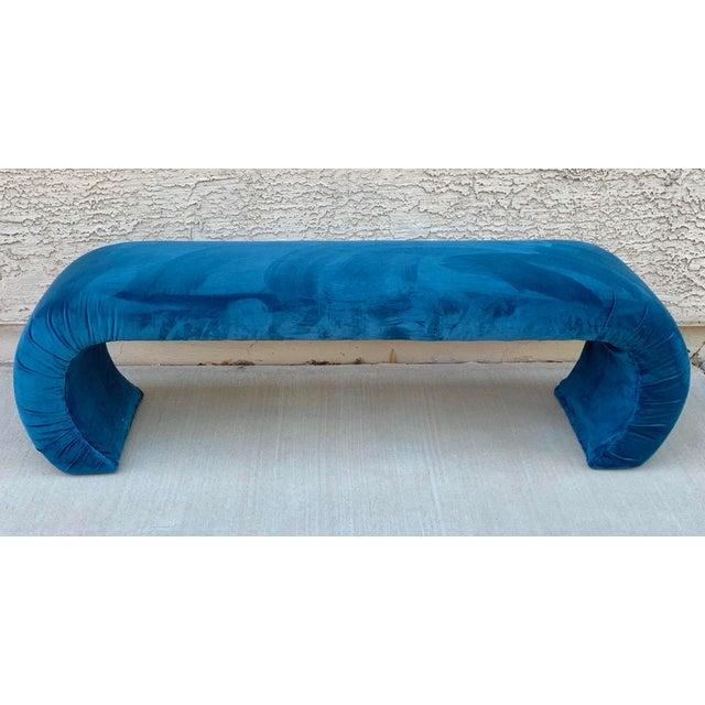 Teal Karl Springer Style Waterfall Bench in Teal Velvet For Sale - Image 8 of 8