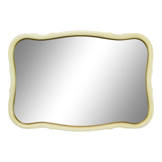 French Provincial Cream and Gold Scalloped Mirror For Sale