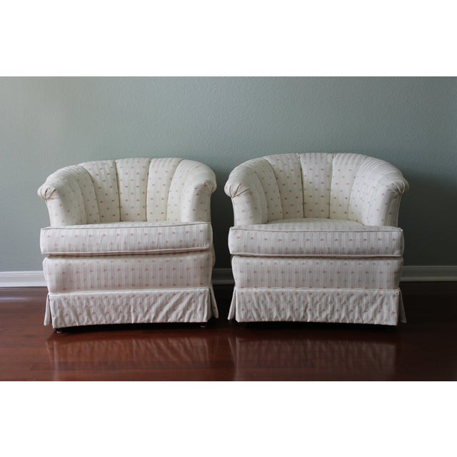 """The 1980s called and they want their amazing upholstered barrel chairs back! These """"Highland House for Hickory Inc."""" brand..."""