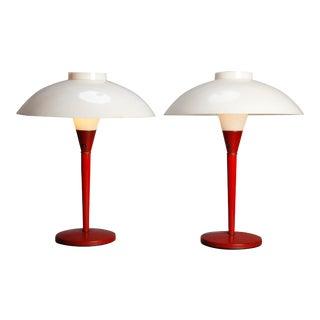 Mid-Century Modern Italian Metal and Acrylic Umbrella Table Lamps - a Pair For Sale