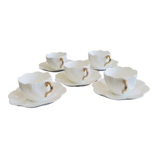 Antique Porcelain Coffee Cups & Saucers by Coalport - Set of 5 For Sale