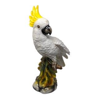Tropical Regency Italian Majolica Ceramic Cockatoo Parrot Sculpture For Sale