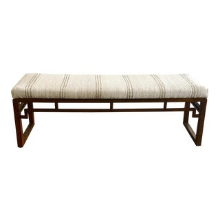 Boho Chic Hemp Covered Vintage Teak Bench