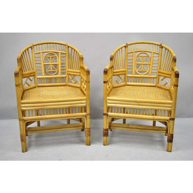 Vintage Brighton Pavilion Style Bamboo & Cane Rattan Arm Chairs - A Pair For Sale - Image 11 of 12