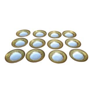 Set 12 Royal Doulton Ovingtons Yellow & Gilt Porcelain Soup Bowls 1920s For Sale