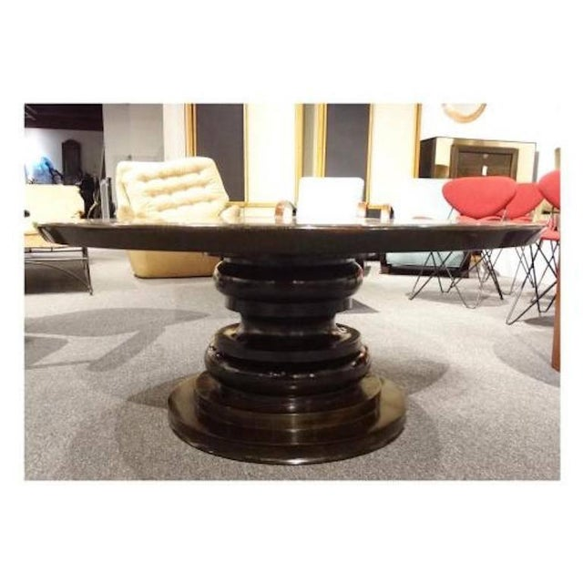 Hollywood Regency Round Cocktail Table with a Reverse Painted Glass Top, France circa 1970's For Sale - Image 3 of 5