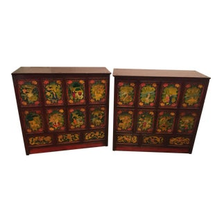 Tibetan Polychrome Painted Sideboards - A Pair