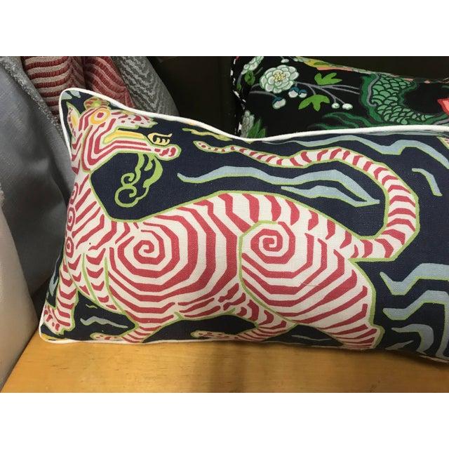 Clarence House custom pillow in Tibet Tiger linen back. Welt hidden. Zipper custom insert included