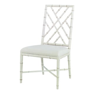 Century Furniture Brighton Side Chair, Antique White/Flax For Sale
