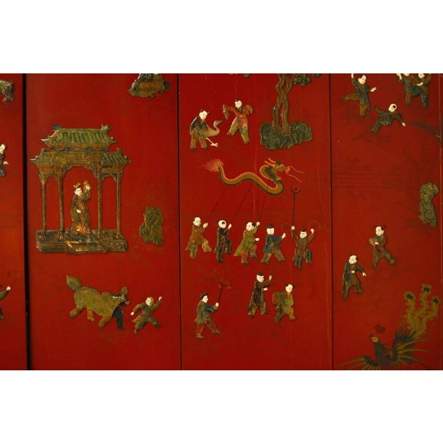 Chinese Hard-Stone & Red Lacquer Screen - Image 7 of 10