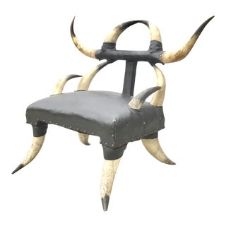 Petite Size 19th Century Steer Horn Chair For Sale