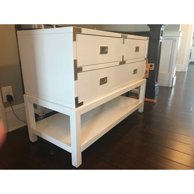 Modern Bungalow 5 Tansu Campaign White Lacquered Console For Sale - Image 4 of 6