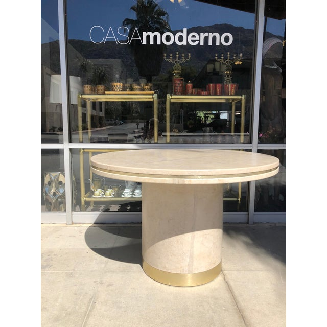 Steve Chase Designed Parchment and Brass Game or Dining Table For Sale In Palm Springs - Image 6 of 10