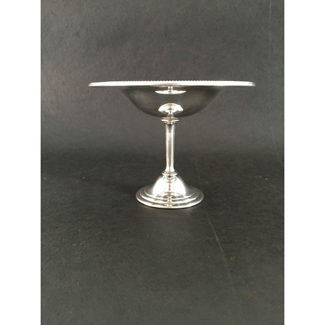 """Vintage Elegant Silver Pedestal Dish or Compote, No makers Mark in Excellent condition 7.35""""D X 5.25""""H"""