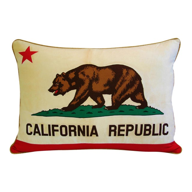 "Jumbo California Republic Bear Flag Feather/Down Pillow 31"" X 22"" For Sale"