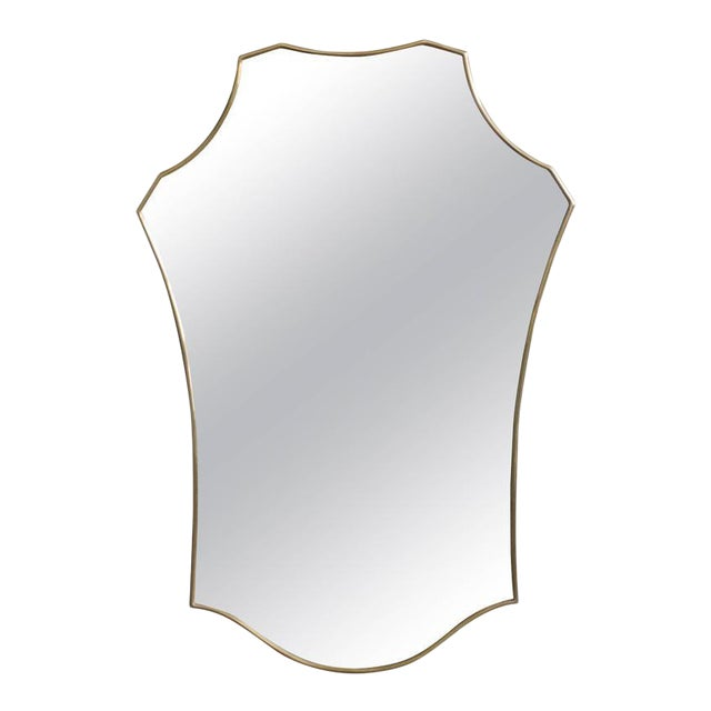 Mid-Century Modern Italian Brass Mirror For Sale
