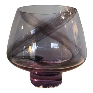 Mid-Century Translucent Purple Vase With Black Pattern For Sale