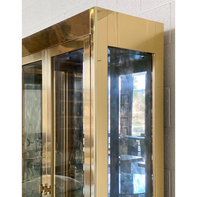 Mastercraft 1970s Art Deco Mastercraft Brass and Glass Display Cabinets-a Pair For Sale - Image 4 of 11