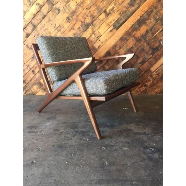 Mid Century Custom Selig Style Z Chair newly built, walnut wood, Z Chair style, in tweed Eclipse fabric, can be ordered in...
