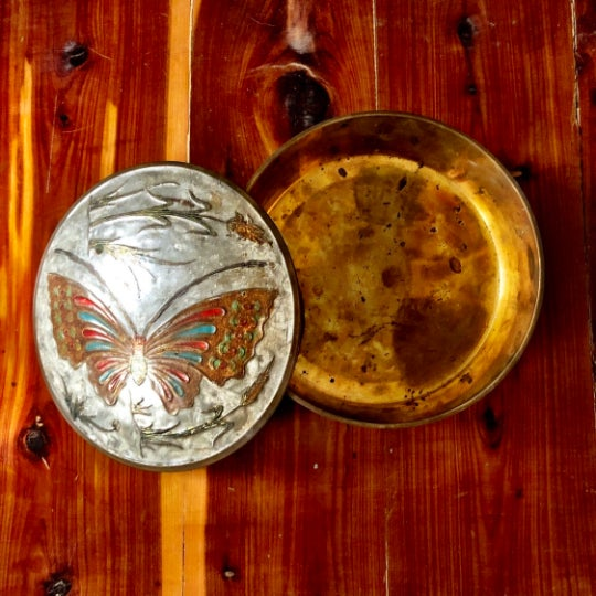 "Mid-Century Brass Butterfly Trinket Box, 6"" x 2"" Patina as seen in photos."