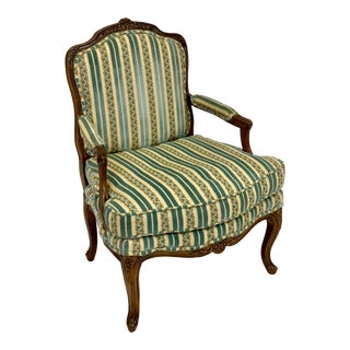Late 20th Century Vintage Baker Louis XVI Bergere Armchair For Sale