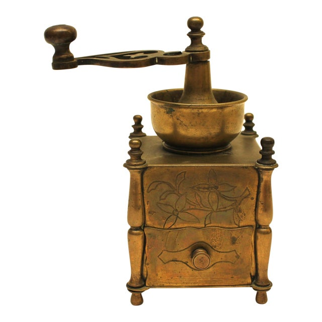19th Century European Solid Brass Coffee Mill - Image 1 of 8