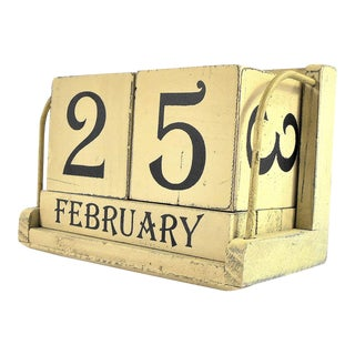 Vintage Wooden Perpetual Calendar For Sale