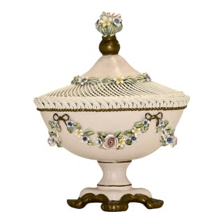 Capodimonte Centerpiece Bowl With a Lid For Sale