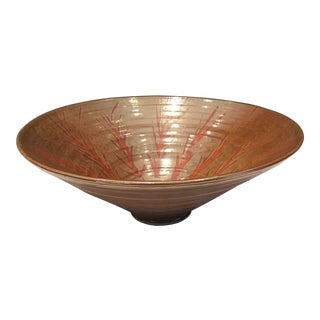 Bronze Glaze Ceramic Bowl With Branch Design Detail For Sale