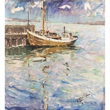 Image of 'Harbor at Dawn' by Victor Qvistorff, Circa 1915; Danish Post-Impressionist For Sale