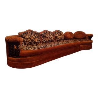 1972 Gold and Black Floral Wooden Arm Sectional For Sale