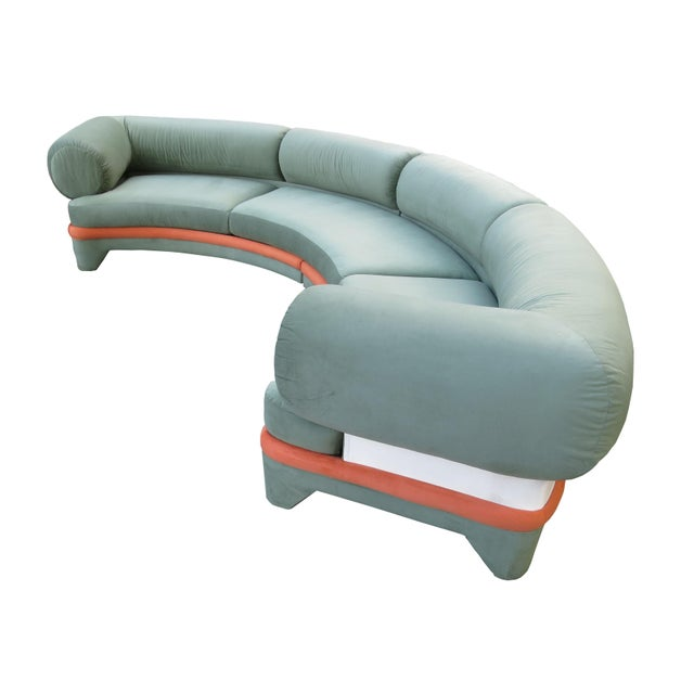 Abstract Expressionism 1970s Contemporary Circular Curved Ultrasuede Sectional Sofa For Sale - Image 3 of 12