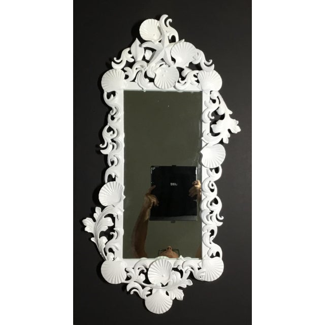 Contemporary White Iron Sea Shell Mirror For Sale - Image 3 of 12