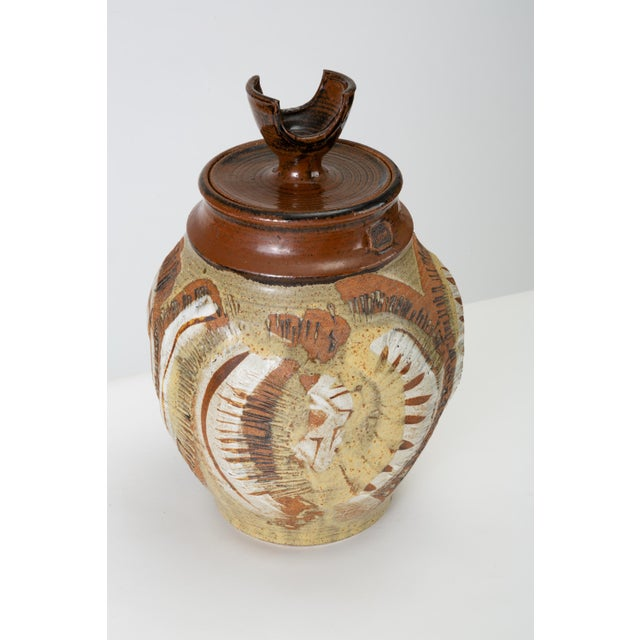 California Modern Large Studio Pottery Jar With Lid by Don Jennings For Sale In Los Angeles - Image 6 of 13