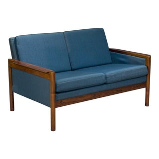 1960s Vintage Danish Modern Blue & Rosewood Settee For Sale